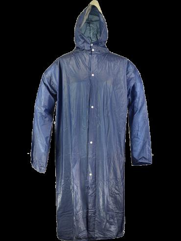 Regnfrakke med lynlås, one size blå