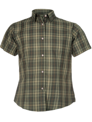 Flot storternet og kortærmet kvindeskjorte